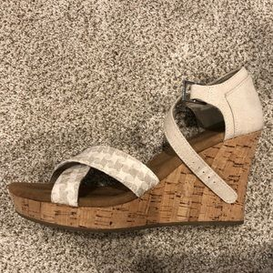 Tom's Strappy Woven with Cork Wedge LIKE NEW